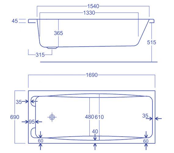 Technical drawing QS-V34772 / Carron Baths - QS-V34772