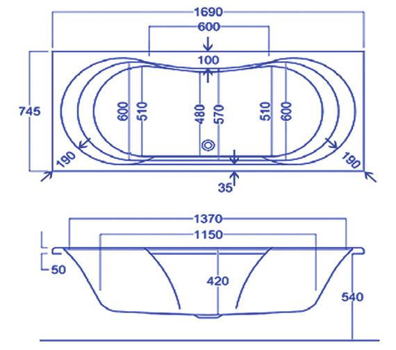 Technical drawing QS-V34779 / Carron Baths - QS-V34779