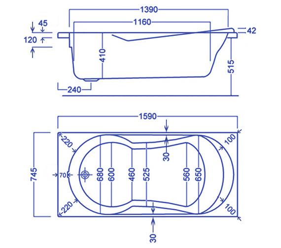 Technical drawing QS-V34785 / Carron Baths - QS-V34785