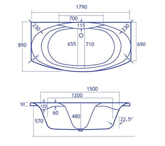 Technical drawing QS-V34808 / Carron Baths - QS-V34808