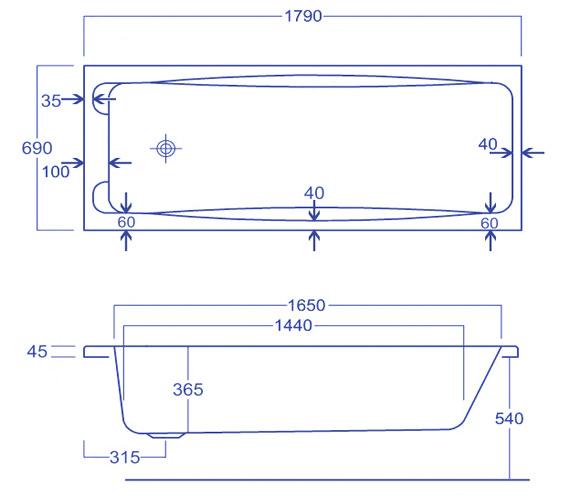Technical drawing QS-V34773 / Carron Baths - QS-V34773