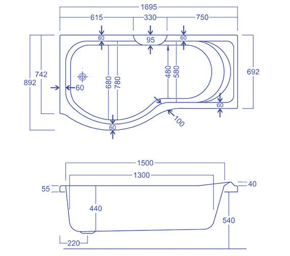 Technical drawing QS-V34811 / Carron Baths - QS-V34811