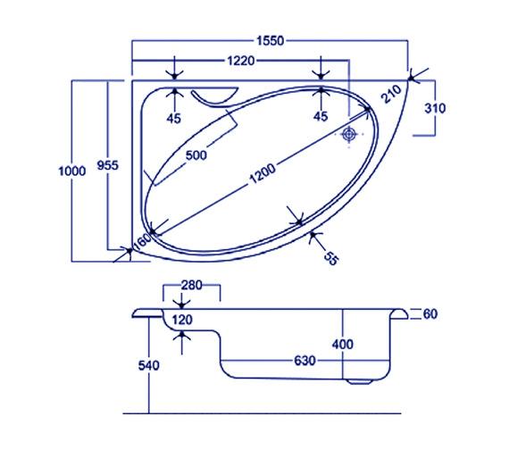 Technical drawing QS-V34833 / Carron Baths - QS-V34833