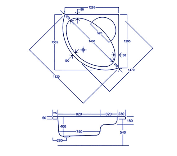 Technical drawing QS-V34834 / Carron Baths - QS-V34834