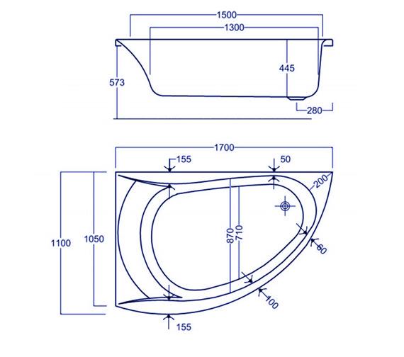 Technical drawing QS-V34835 / Carron Baths - QS-V34835