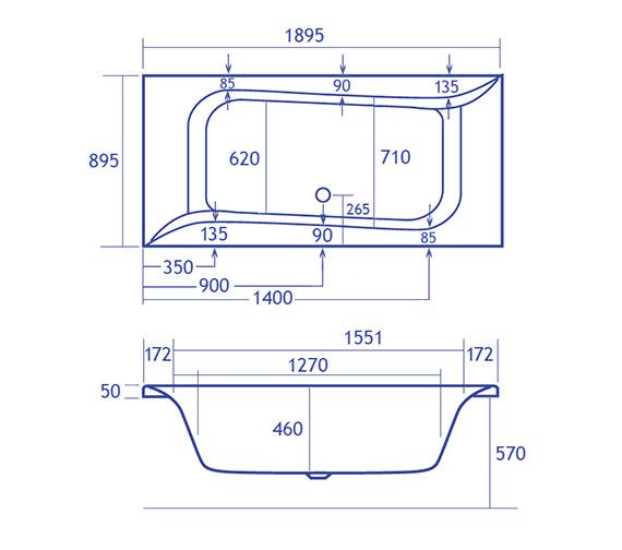 Technical drawing QS-V38488 / Carron Baths - QS-V38488