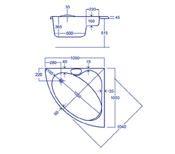 Technical drawing QS-V34837 / Carron Baths - QS-V34837