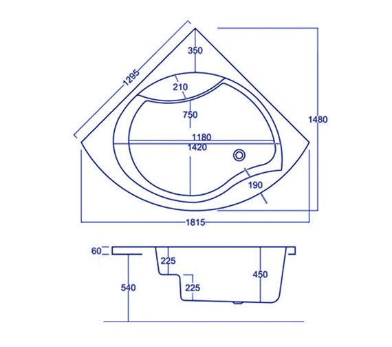 Technical drawing QS-V34839 / Carron Baths - QS-V34839
