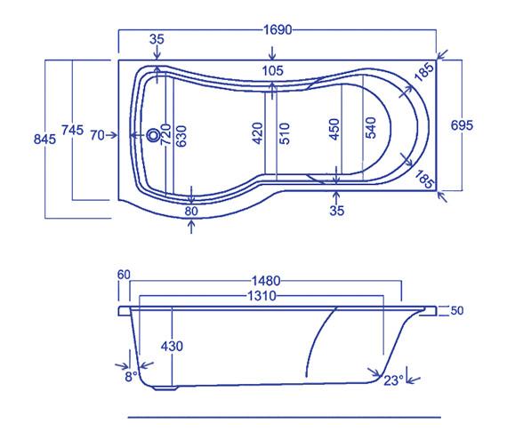 Technical drawing QS-V34813 / Carron Baths - QS-V34813