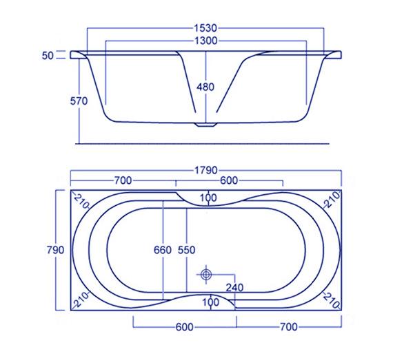 Technical drawing QS-V34829 / Carron Baths - QS-V34829