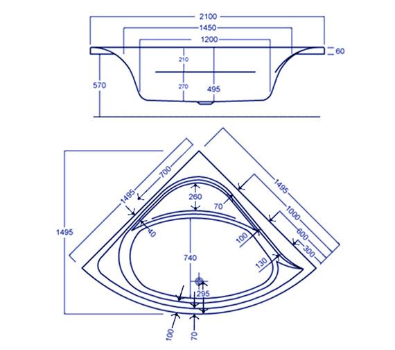 Technical drawing QS-V34832 / Carron Baths - QS-V34832