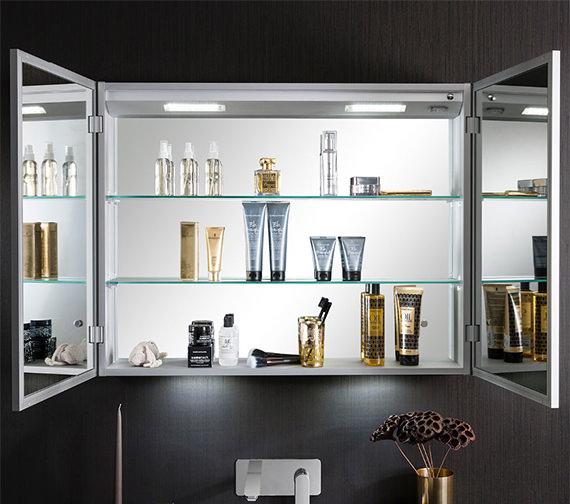 Additional image of Bauhaus Allure Double Door Mirror Cabinet 900 x 700mm