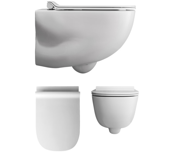 Bauhaus Wild Wall Hung WC With Soft Close Seat 520mm