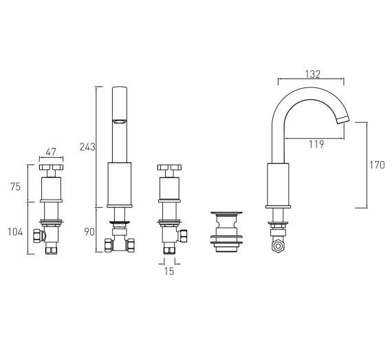 Technical drawing QS-V6898 / CAS 3HBAS C