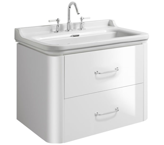 Bauhaus Waldorf 800mm White Gloss Basin Unit With 2 Bow Handles
