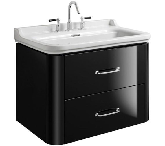 Bauhaus Waldorf 800mm Black Gloss Basin Unit With 2 Bow Handles