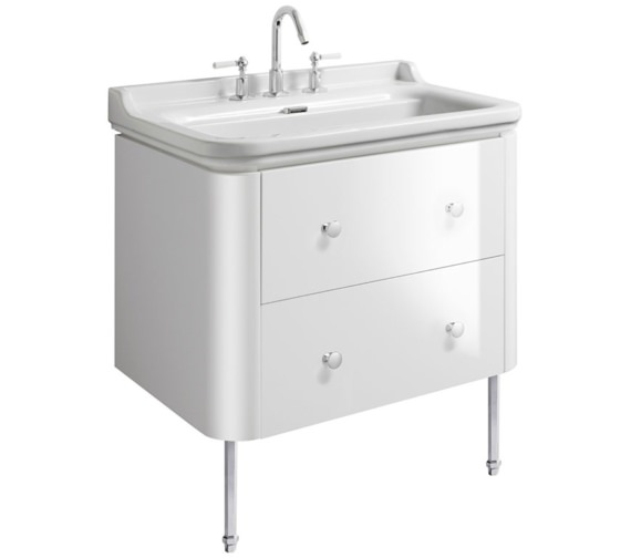 Bauhaus Waldorf 800mm White Gloss Basin Unit With Legs And 4 Knobs