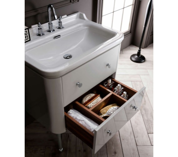 Alternate image of Bauhaus Waldorf 800mm White Gloss Basin Unit With Legs And 4 Knobs