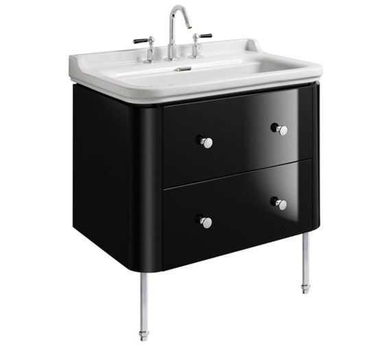 Bauhaus Waldorf 800mm Black Gloss Basin Unit With Legs And 4 Knobs