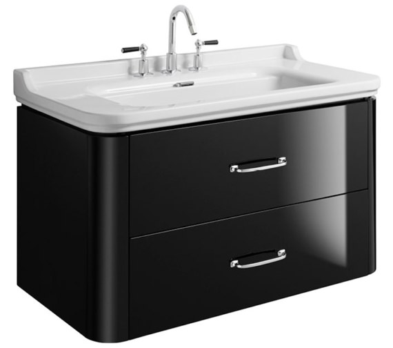 Bauhaus Waldorf 1000mm Black Gloss Basin Unit With 2 Bow Handles