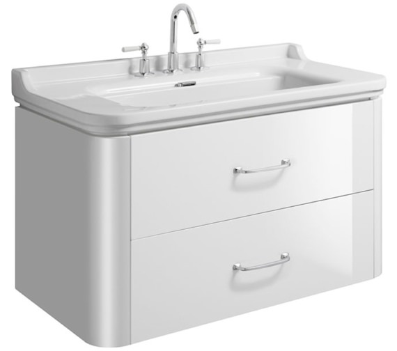 Bauhaus Waldorf 1000mm White Gloss Basin Unit With 2 Bow Handles