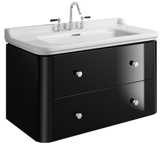 Bauhaus Waldorf 1000mm Black Gloss Basin Unit With 4 Knobs