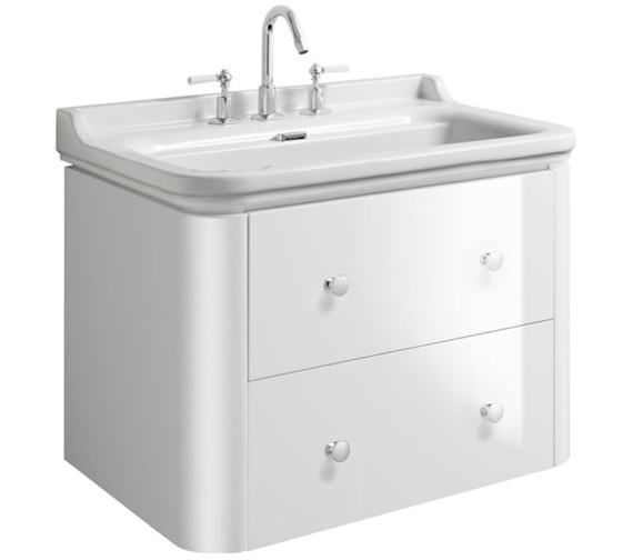 Bauhaus Waldorf 800mm White Gloss Basin Unit With 4 Knobs