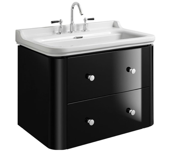 Bauhaus Waldorf 800mm Black Gloss Basin Unit With 4 Knobs