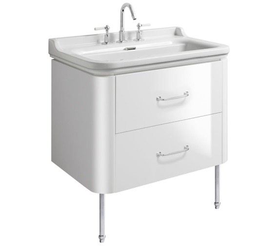 Bauhaus Waldorf 800mm White Gloss Basin Unit With Legs And 2 Bow Handles