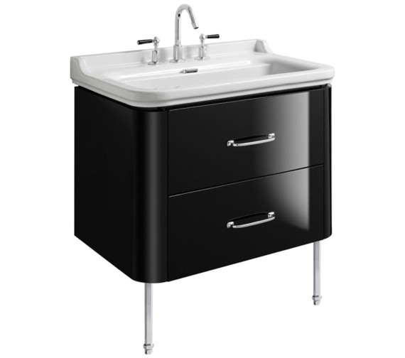 Bauhaus Waldorf 800mm Black Gloss Basin Unit With Legs And 2 Bow Handles