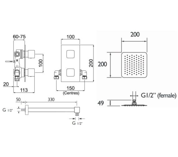 Technical drawing QS-V6937 / COBALT SHWR PK