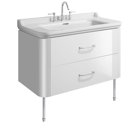 Bauhaus Waldorf 1000mm Basin Unit With Legs And 2 Bow Handles