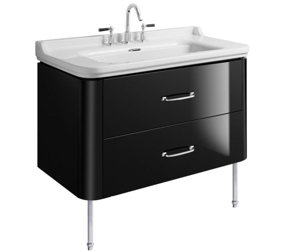 Bauhaus Waldorf 1000mm Black Gloss Basin Unit With Legs And 2 Bow Handles
