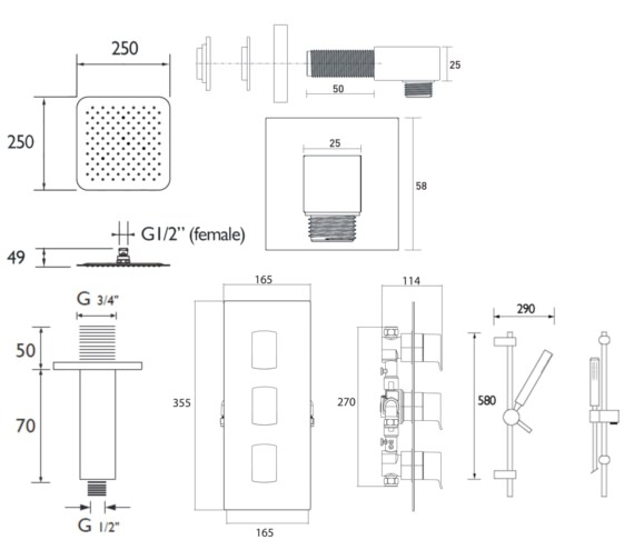Technical drawing QS-V6946 / DESCENT SHWR PK