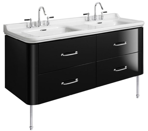 Bauhaus Waldorf 1500mm Black Gloss Basin Unit With Legs And 4 Handles