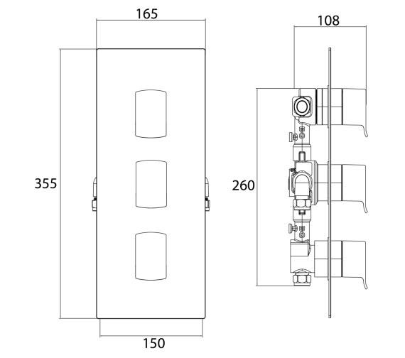 Technical drawing QS-V6955 / DSC SHC3DIV C