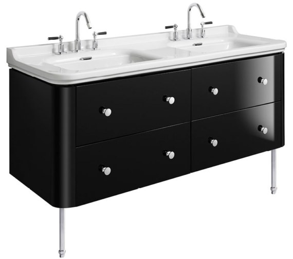 Bauhaus Waldorf 1500mm Black Gloss Basin Unit With Legs And 8 Knobs