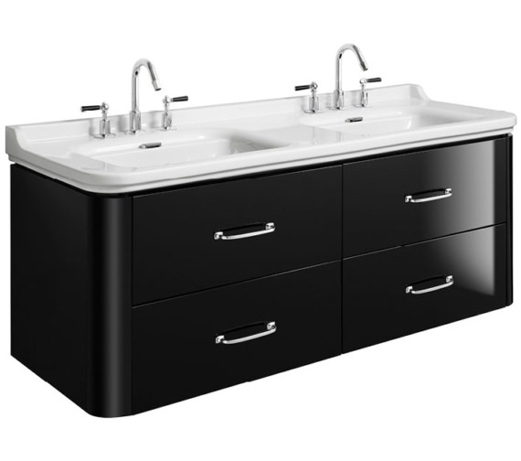 Bauhaus Waldorf 1500mm Black Gloss Basin Unit With 4 Bow Handles