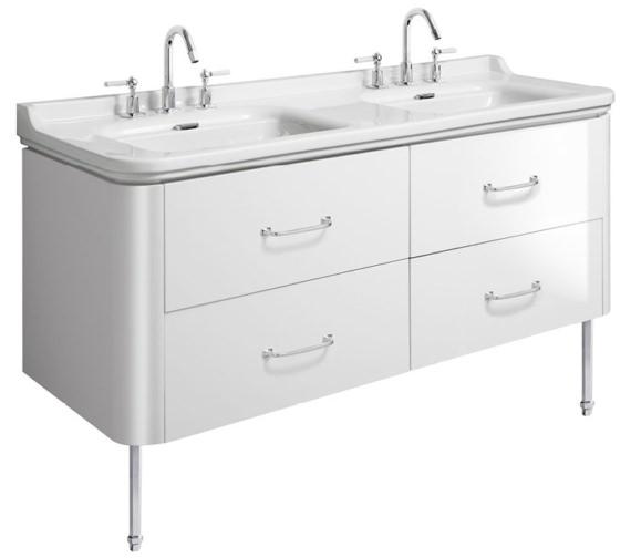 Bauhaus Waldorf 1500mm White Gloss Basin Unit With Legs And 4 Handles