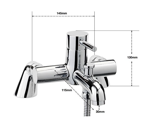 Alternate image of Sagittarius Ergo Pillar Bath Shower Mixer Tap With No.1 Kit