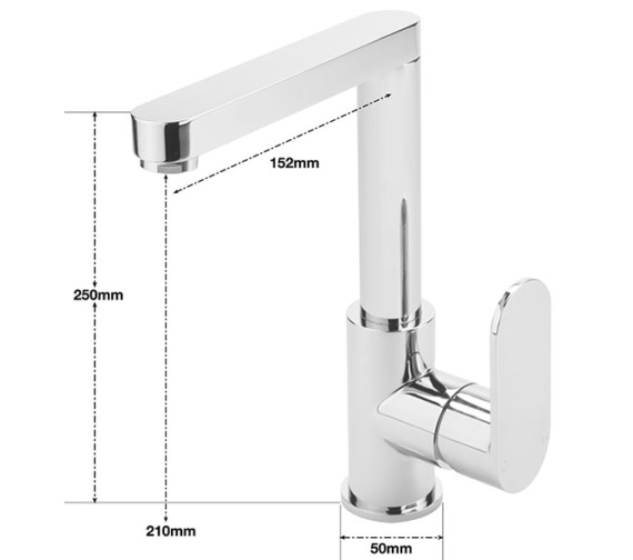 Alternate image of Sagittarius Metro Side Lever Basin Mixer Tap With Sprung Waste
