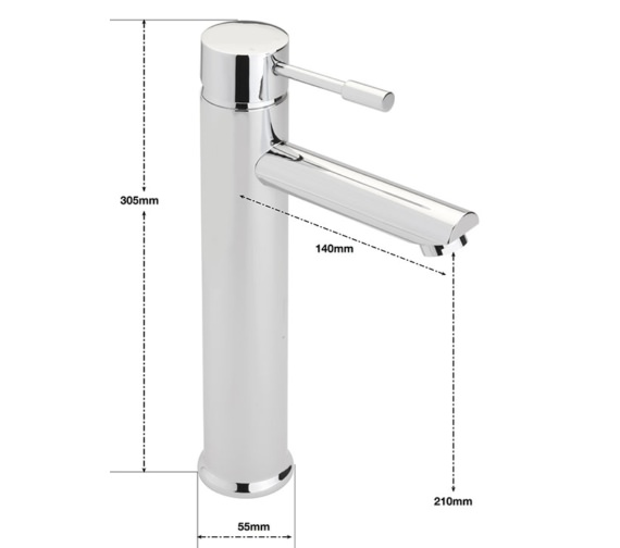 Alternate image of Sagittarius Boston Extended Monobloc Basin Mixer Tap With Sprung Waste