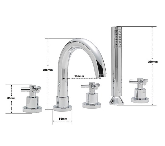 Alternate image of Sagittarius Zone 5 Hole Deck Mounted Bath Shower Mixer Tap