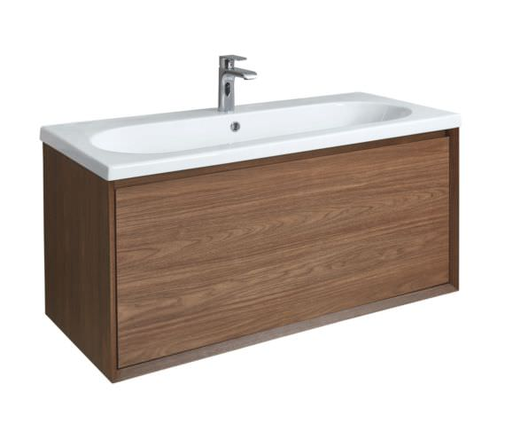 Phoenix Enzo 1010mm Walnut Wall Mounted Vanity Unit With Ceramic Basin