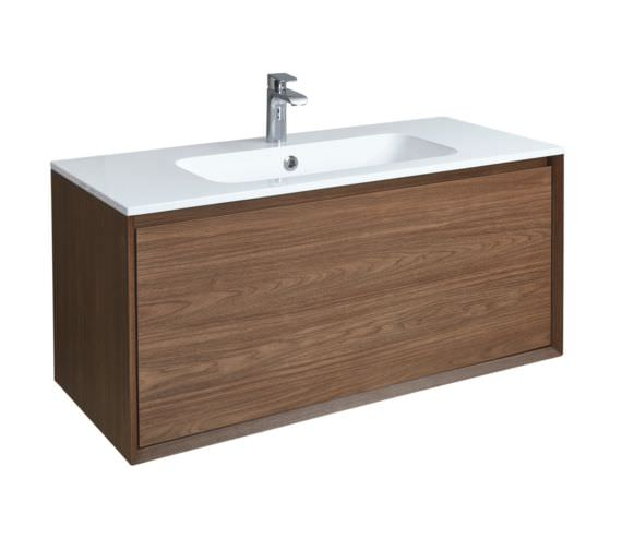 Phoenix Enzo 1010mm Walnut Wall Mounted Vanity Unit With Mineral Cast Basin