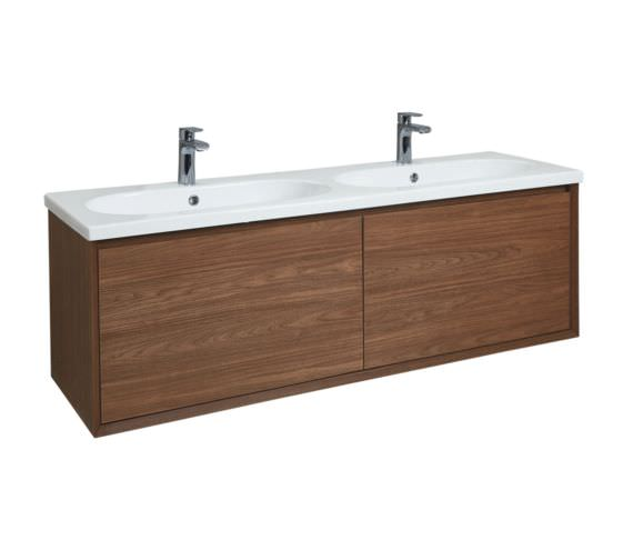 Phoenix Enzo 1410mm Walnut Wall Mounted Vanity Unit With Ceramic Basin