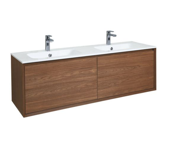 Phoenix Enzo 1410mm Walnut Wall Mounted Vanity Unit With Mineral Cast Basin