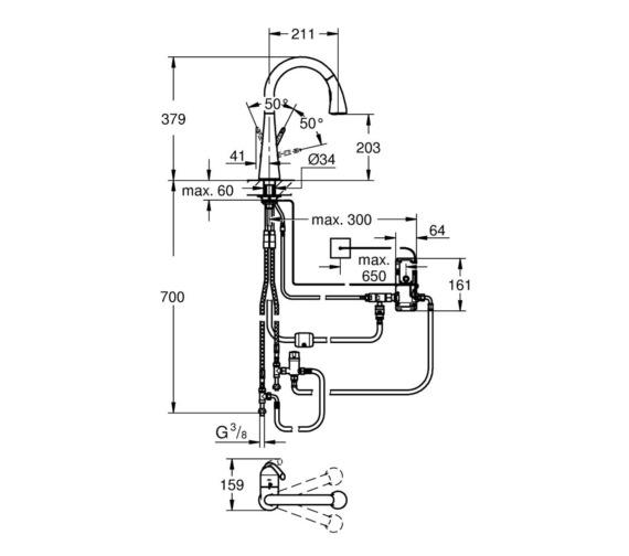 Technical drawing QS-V6861 / 30219DC1