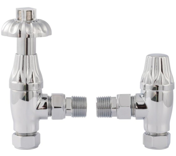 Hudson Reed Chrome Lockshield Angled Radiator Valve Pack