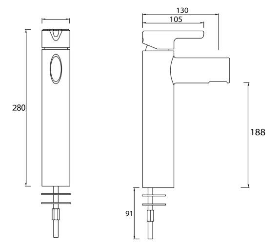 Technical drawing QS-V6985 / FLT TBAS C